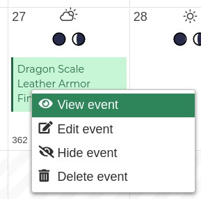 Image of the context menu of an event